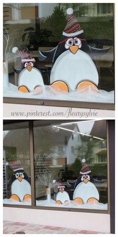 Extrait d'une déco de vitrines, avec des planches récup #decoration #hiver #pingouin http://pinterest.com/fleurysylvie/mes-creas-deriendutout/