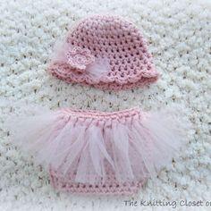Newborn Photo Prop - Crochet Diaper Cover Pattern and Hat Pattern - Soaker Pattern - Tutu - Ballet