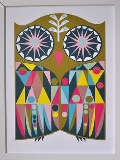 PRINT  Owl Art Poster  geometric modern by Banquet on Etsy, $24.00