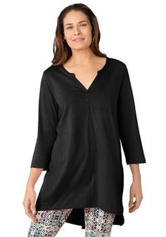 Notch-front tunic, Black,   Item #: 0037-34674-1145