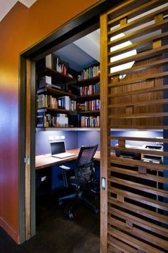 From shelving to desk options and beyond, discover the top 40 best closet office ideas. Explore small work space designs for your home. Home Office Closet, Tiny Office, Office Nook, Home Office Setup, Home Office Space, Home Office Design, Home Interior Design, Office Ideas, Small Home Offices
