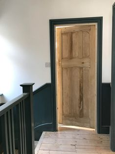 Adding character back to a period home – Apartment Apothecary Dado Rail Hallway, Dark Hallway, Oak Doors, Wooden Doors, Wooden Interior Doors, Front Doors, Norfolk Country Cottages, 1930s House, Edwardian House