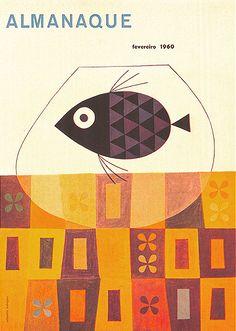Sebastião Rodrgiues' cover for Portuguese magazine Almananque, February 1960 Book Cover Art, Book Cover Design, Book Design, Design Design, Illustration Photo, Graphic Design Illustration, Princesas Disney Zombie, Design Bauhaus, Vintage Book Covers