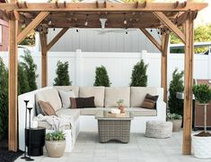 the PERFECT paver patio and pergola duo. Add in raised wooden rectangle planters behind outdoor sofa with screening wall for privacy-wooden wall or emerald green arborvitae. Backyard Gazebo, Backyard Seating, Pergola Patio, Outdoor Seating, Backyard Landscaping, Outdoor Decor, Pergola Kits, Pergola Ideas, Diy Gazebo