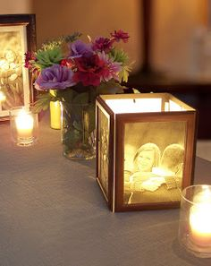 How to Make Photo Centerpieces with Candles... I want to try this using mat boards (in my wedding colors) instead of frames