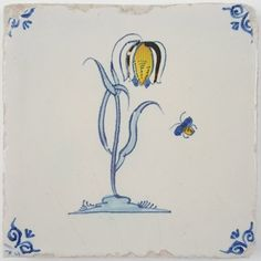 Antique Delft tile with a polychrome flower with a small bug flying next to it - II, 17th century
