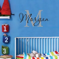 Personalized Monogram Kids Wall Decals  Boys Wall Decal Name Vinyl Lettering  baby boy nursery wall decal Morgan *** Be sure to check out this awesome product. (Note:Amazon affiliate link)