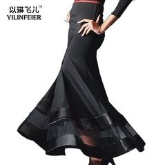 Latin Ballroom Dance dress long maxi skirt #S8027 Black