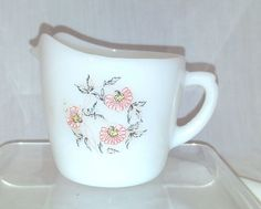 Fleurette by Anchor Hocking Fire-King, Pink & Red Floral Creamer