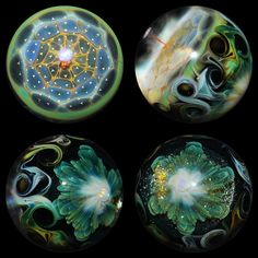 Two crazy fume collaboration marbles by Kenan Tiemeyer and Eusheen Goines