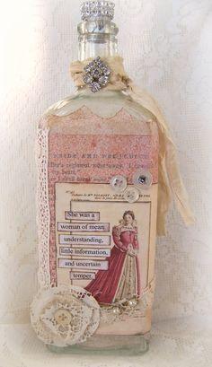 Jane Austen Items | Vintage Romance Jane Austen Art Vintage Altered Bottle Vintage Pride ...