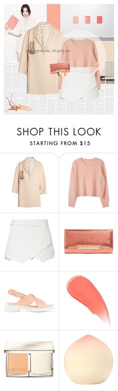 """""""Peachy Keen"""" by e-laysian ❤ liked on Polyvore featuring Issa, Zara, Jimmy Choo, Robert Clergerie, Burberry, Christian Dior, Tony Moly and Bobbi Brown Cosmetics"""