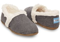 Charcoal Wool Youth Slippers | TOMS
