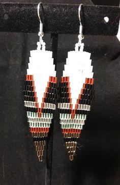 Diamond Drop/Dangle Seed Bead Earrings Black White Copper #handmade #DropDangle