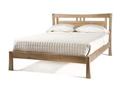 Made of walnut and modeled after the shape of a traditional Japanese gate, this bed has gracious flared lines bound to inspire restful sleep. ,Saito Bed by Gingko Home Furnishings Asian Platform Beds, Modern Platform Bed, Japanese Bed Frame, Japanese Bedroom, Modern Asian, Headboard Designs, Bed Furniture, Furniture Stores, Bed Sheet Sets