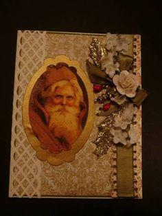 Christmas Greeting Card, Vintage Santa ~ Handmade