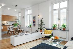 22 + The Rule for Open Plan Kitchen Dining Living Small Ideas Open Plan Kitchen Dining Living, Living Room Kitchen, Home Living Room, Open Kitchen, Open Plan Apartment, White Apartment, Living Room Divider, Apartment Makeover, Style Deco