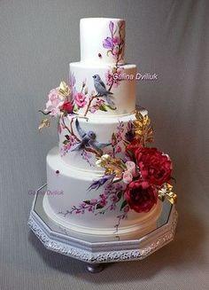 Burgundy flowers wedding cake