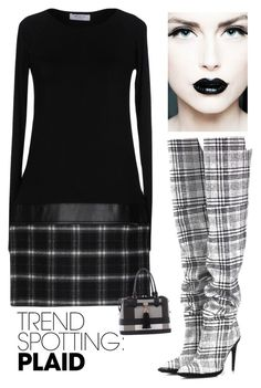 """Trendy in Plaid"" by kotnourka ❤ liked on Polyvore featuring Off-White, Bailey 44, Epic Chic, contestentry and NYFWPlaid"