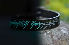 Glow in the Dark Leather Dog Collar with The One Ring Elvish Script