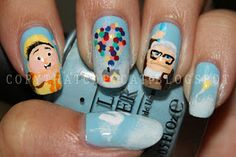 Up nails. Copy That, Copy Cat: 31 Day Nail Challenge Cute Nail Art, Cute Nails, Pretty Nails, Shellac, Hair And Nails, My Nails, Crazy Nails, Up The Movie, Up Theme