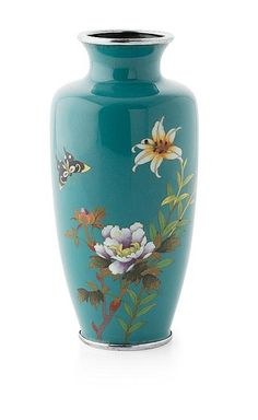JAPANESE CLOISONNE VASE of ovoid form, decorated with a lily and peony on a branch and a butterfly, on a turquoise ground high Japanese Vase, Japanese Porcelain, Japanese Pottery, China Painting, Ceramic Painting, Ceramic Art, Porcelain Ceramics, Ceramic Pottery, Pottery Art