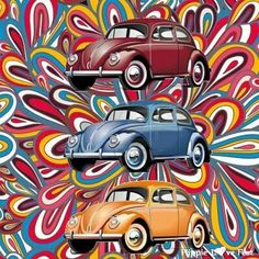psychedelic VW beetles yellow, red, blue
