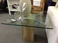 End Table - Glass and marble coffee or end table. 28 inches by 28 inches Item 214-1.  Price $120.00   - http://takeitorleaveit.co/2013/09/14/end-table-2/