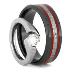 Meteorite Wedding Ring Set Diamond With Black Ceramic Band