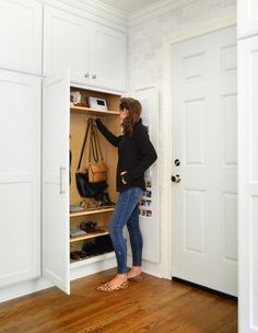 Maximizing Our Mini Mudroom (Young House Love) Young House Love, Decoration Hall, Mudroom Cabinets, Kitchen Cabinets, Corner Closet, Corner Door, Front Closet, Hall Closet, Closet Space
