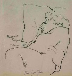 Art - Drawing - Jean Cocteau - by Raymond Radiguet endormi, 1922 Life Drawing, Figure Drawing, Drawing Sketches, Art Drawings, Contour Drawings, Alphonse Mucha, Harlem Renaissance, Pablo Picasso, Raymond Radiguet