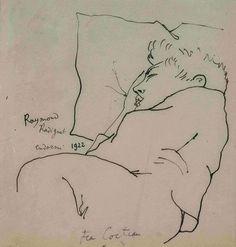 Raymond Radiguet endormi , par Jean Cocteau