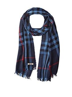 Burberry Women's Checked Scarf, Navy