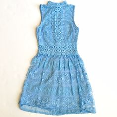 Light Blue Lace Dress WORN ONCE - GREAT SHAPE! Very Victorian inspired and the most gorgeous shade of blue! jcpenney Dresses Mini