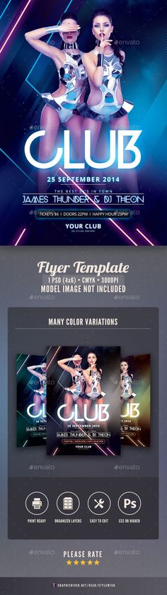 Club PSD Flyer Template • Only available here ➝ http://graphicriver.net/item/club-flyer/8514855?ref=pxcr