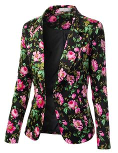 Ladies Blazer Jackets | ... - Freedom of Fashion - Womens Trendy Floral Print Blazer Jacket