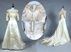 Wedding gown, Fred Bosworth, ca. 1900-14. Ivory satin with pearl beads. Detachable pearl bow. Kerry Taylor Auctions/Artfact