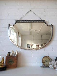 Vintage Large Art Deco Bevelled Edge Wall Mirror Lovely Shape & Chrome Frame WOW by uulipolli on Etsy https://www.etsy.com/listing/222090817/vintage-large-art-deco-bevelled-edge