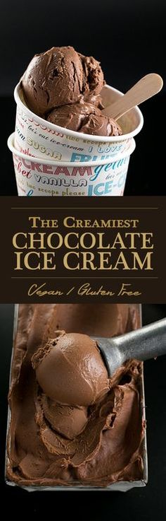 The Creamiest Vegan Chocolate Ice Cream - homemade, ultra creamy and scoopable chocolate ice cream made with cashews and coconut milk. Vegan and Gluten Free. I'd use avocado instead of the cashews. Vegan Treats, Vegan Foods, Vegan Recipes, Vegan Dishes, Free Recipes, Homemade Chocolate Ice Cream, Vegan Chocolate, Chocolate Cake, Dairy Free Ice Cream