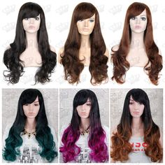 Ladies Black Brown Auburn Teal Green Hot Pink Long Wavy Quality Synthetic Wig