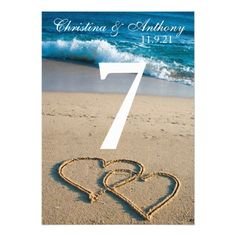 Wedding Table Number Heart on the Shore Beach - invitations personalize custom special event invitation idea style party card cards Beach Invitations, Heart Wedding Invitations, Affordable Wedding Invitations, Invitation Card Design, Wedding Invitation Design, Beach Engagement, Engagement Gifts, Beach Cards, Wedding Table Numbers
