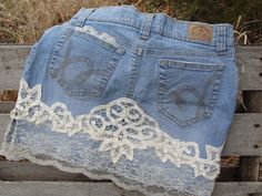 Bohemian jean skirt lace and flowers embellished by SummersBreeze