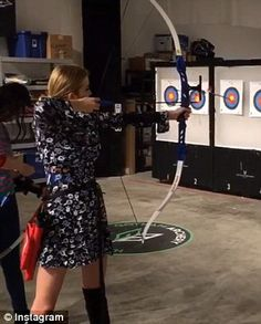 Taking aim: Ivanka fired off arrows at a New York archery range ahead of her birthday. Archery Range, 35th Birthday, Traditional Archery, Ivanka Trump, Arrows, Donald Trump, Bow, Beautiful, Instagram