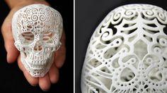 3D Printed Filigree Skull  by Joshua Harker