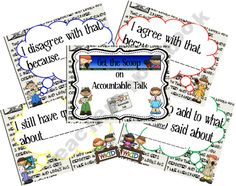 Get The Scoop on Accountable Talk-a way to get students actively engaged in classroom discussion Too Cool For School, School Fun, School Stuff, School Ideas, 4th Grade Writing, 3rd Grade Reading, Accountable Talk Stems, Ms Jones, School Forms