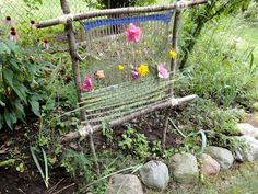 garden weaving loom...a small one would be cute in the fairy garden... (I love this one! So pretty!!!)