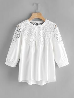 SheIn offers Lace Crochet Contrast Shirt & more to fit your fashionable needs. Blazer Outfits Fall, Casual Fall Outfits, Stylish Dress Designs, Stylish Dresses, Girls Fashion Clothes, Fashion Dresses, Girls Dresses Sewing, Iranian Women Fashion, Kids Frocks Design