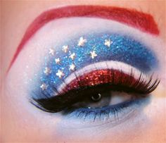 CAPTAIN AMERICA EYES <3  View images and photos in CNET's Eye makeup for geeks (pictures) - Stars get in your eyes with Karita Brun's Captain America eye makeup. This is part of her Avengers collection containing eye shadow interpretations of the blockbuster superheros.