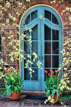 Wonder if doors like this are still available? Obviously a Spring moment that is captured in time. Door Opener, Aqua Door, Blue Doors, Grand Entrance, Entrance Doors, Doorway, Garden Gates, Garden Doors, Arched Doors