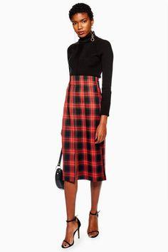 eef7626f43ba Topshop Check Pencil Midi Skirt Plaid Dress, Skirt Outfits, Midi Skirt  Outfit, Petite